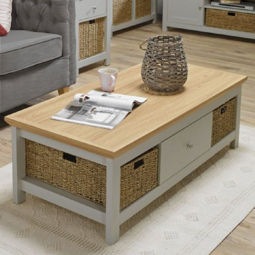 AXE 119  coffee Table ( Cream & Oak Finish) By Denelli